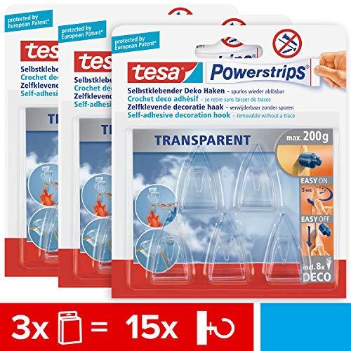 tesa Powerstrips DECO Haken SMALL im 3er Pack - Klebehaken für Deko an Glas und Spiegel - bis zu 200 g Haltekraft - 3 x 5 Haken