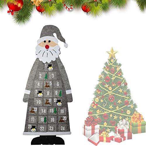 HIQE-FL Filz Nikolaus Adventskalender,Adventskalender Santa,Weihnachtskalender DIY,Weihnachtsmann Adventskalender,Adventskalender zum Befüllen Kinder,Stoff-Adventskalender (grau)