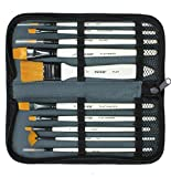 VViViD Synthetic Red Sable 10 Assorted Pearl Enamelled Short Handle Paint Brush Set W/ Compact Nylon Carrying Case