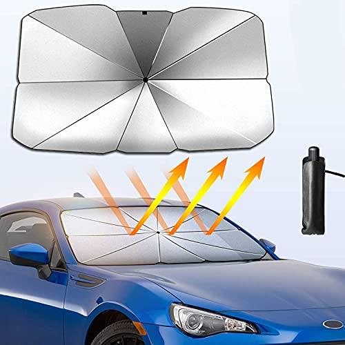 OrangeClub Auto Sonnenschutz für Windschutzscheibe,Faltbarer Frontscheibe UV Schutz Regenschirm Sonnenschirm Universal,125 cm * 65 cm,für die meisten Autos, SUVs und LKWs (Klein)