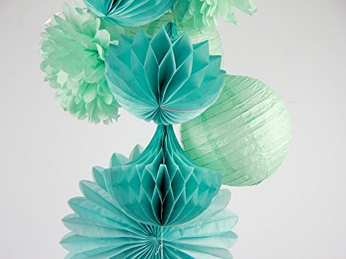 SUNBEAUTY 10er Set Dekoration Mint Papier Pompoms & Rosetten & Wabe & Lampion Türkis Serie Mixed Hochzeit Geburtstag Feier Party Dekoration