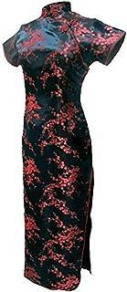 (上海物語)Shanghai Story 光沢あり 梅 単色 半袖 カラー マキシ丈 ロング チャイナ ドレス(レディース、女性用)花柄 プリント 模様 エナメル サテン 中華風 中国 パーティー ワンピース スリット ワンピ ドレス 9カラー