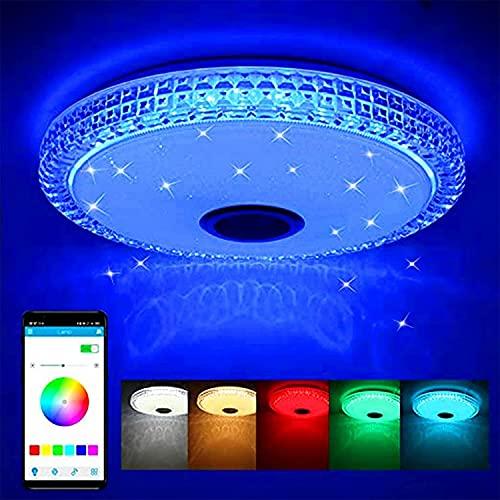 Blingbin LED Deckenleuchte mit Bluetooth Lautsprecher, WIFI + Bluetooth Lautsprecher Unterstützung APP-Steuerung/Fernbedienung Mit Warm Cold White RGB Light Farbe, 40 * 40 * 12cm