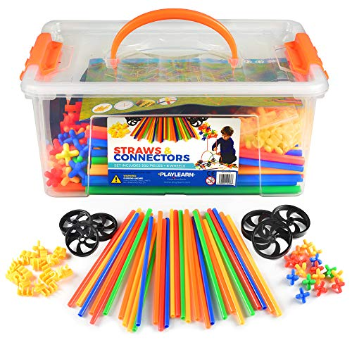 Playlearn 300 Piece Straws Builders Construction Building Toy with Wheels  with Special Colored Connectors