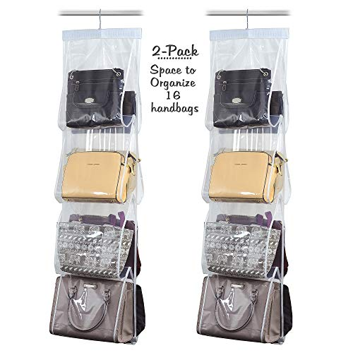 Heavy Duty Clear PEVA Plastic Hanging Closet Organizer and Garment Protector Sets Set of 2-8 Pocket Handbag Organizer with 360 Swivel Hanger
