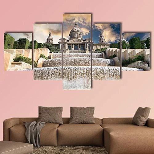 IOOIO 5 Pieza Cuadro En Lienzo El Palau Nacional situado Impresión en Lienzo Picture Artworks para Arte Pared Habitación Dormitorio Moderno Decorativo