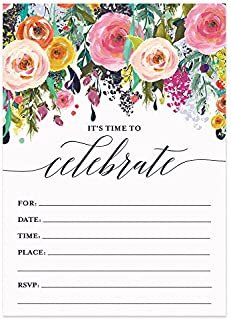 25 Whimsical Rainbow Invitations with Envelopes ( Pack of 25 ) Large 5x7