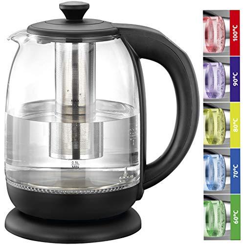 MELISSA 16130305 LED Tee-Glaswasserkocher,1,70 Liter,Tee-Glas Wasserkocher,LED Beleuchtung,2000 Watt,Tee-Sieb,Temperatureinstellung, 60°, 70°, 80°, 90° und 100° Grad,unterschiedliche LED Lichtfarben,
