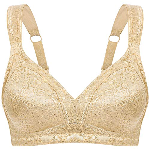 Wingslove Women's Full Coverage Non Padded Comfort Strap Minimizer Wirefree Bra(Nude,38DD)
