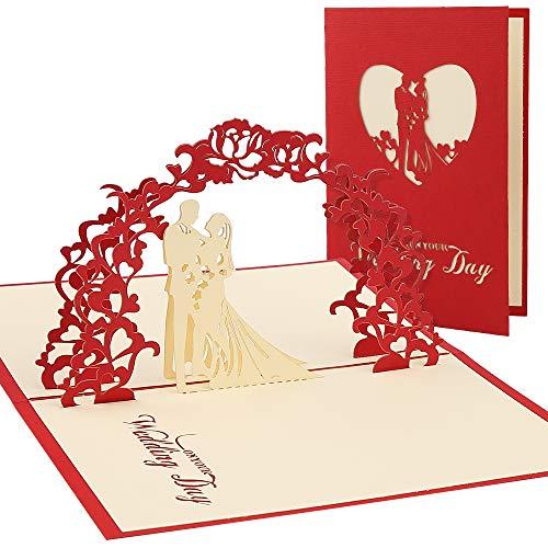 Vegena Hochzeitskarte 3D, Karte zum Valentinstag Pop Up Karte Muttertag Hochzeitsgeschenk Karte Hochzeit Muttertagskarte, Geschenkkarte für Freundin Frauen Liebhabers inkl. Umschlag