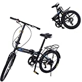 Adult Folding Bike, 20-in Alloy Wheel, 7-Speed Transmission, Rear Carry Rack, Alloy Handlebar, Carrying Bag,City Mini Compact Bike for Urban Commuter