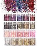 ANDERK 20 boîtes Chunky Glitter, Ensemble de Paillettes Ongles Paillettes Paillettes Glitter pour les Ongles et le Maquillage