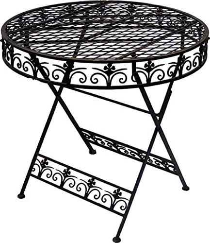 Nostalgischer Tisch aus Metall dunkelbraun Rund Durchmesser 75 cm Gartentisch