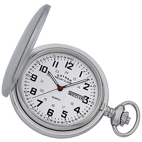 Reloj de bolsillo para hombre clásico de acero inoxidable analógico de cuarzo día/fecha Hunter # gwc14110s
