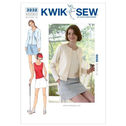 Kwik Schnittmuster K3232, Größe XS, S, M, L, XL, Top und Rock, Strickjacke, Weiß, 1 Stück