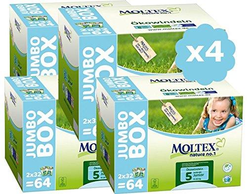 Moltex Windeln Größe 5 Junior Pack Ultra Eco – 11/25 kg – 4 Stück – 256 Einwegwindeln