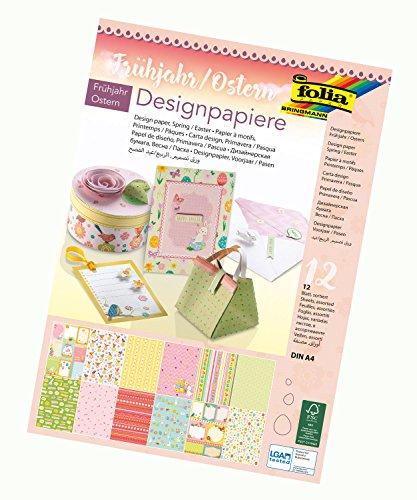folia 11749 - Designpapier Block Frühjahr / Ostern, DIN A4, 165 g/qm, 12 Blatt - hochwertig illustriertes Papier mit Glitterapplikation