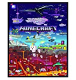 Minecraft Poster - 8x10 Minecraft Wall Decor - Minecraft Party Decorations - Cool Unique Gift for Boys, Men, Gamer, Video Game, Arcade Games, Xbox, Nintendo, Gaming Fan - Game Room Decor
