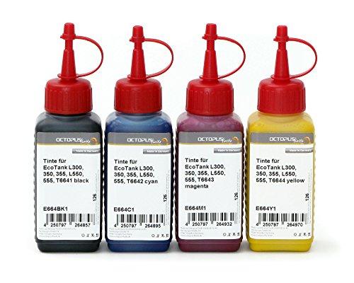 Octopus 4X 250ml Tinte, Druckertinte kompatibel für Epson EcoTank L300, L350, L355, L365, L455, L550, L555, L565, L100, L200 Drucker, Nachfülltinte für T6641, T6642, T6643, T6644 (kein OEM)