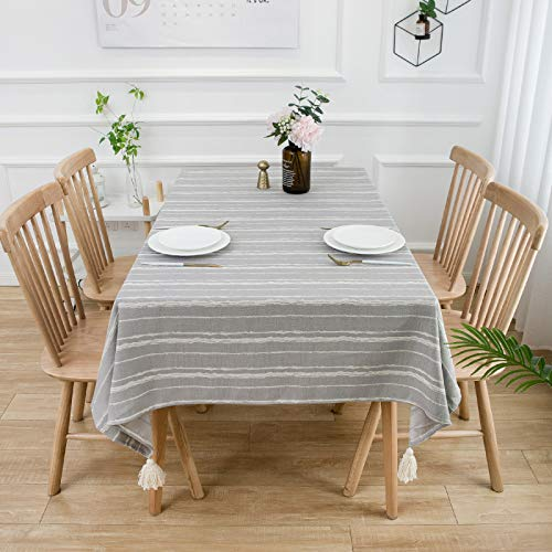 HTUO Wipe Clean Tablecloths Rectangular Dinner Xmas Table Cover Coffee Table Tea Home Decoration Textile Grey Plaid Table Protector Washable Table Cover Buffet Decoration 135 * 100cm