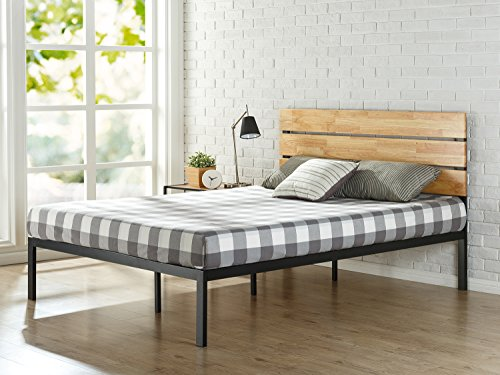 Zinus Cama de plataforma de madera y metal con listones de madera de pino Paul , Base para colchón, Sin necesidad de usar un somier, Sólido soporte de listones de madera, Fácil montaje, 135 x 190 cm