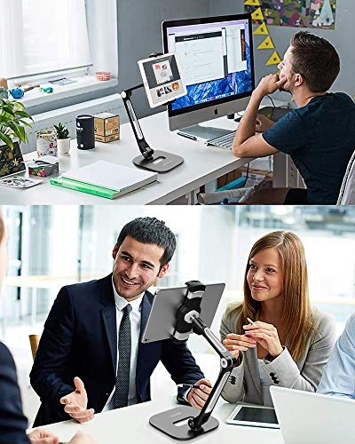 AboveTEK Long Arm Tablet Ständer, Faltbarer Tablet Halter mit 360 ° Swivel Clamp Halterung,Aluminium Halterung passt 4-11
