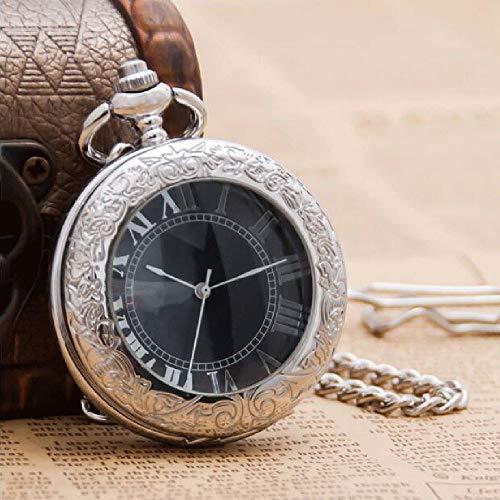 J-Love Nueva Lupa de Acero Blanco Roma Reloj de Bolsillo mecánico Hombres y Mujeres Personalidad Moda Retro Clam Trend