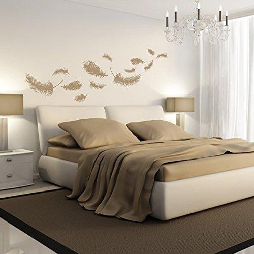 denoda® Federn - Wandtattoo Weiss 49 x 25 cm (Wandsticker Wanddekoration Wohndeko Wohnzimmer Kinderzimmer Schlafzimmer Wand Aufkleber)