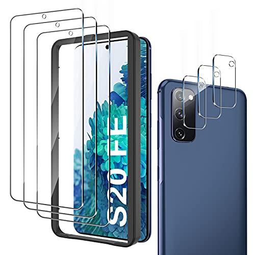 mixigoo 6 Stück Panzerglas Kompatibel mit Samsung Galaxy S20 FE 4G/5G, 3 Stück Kamera Schutzfolie und 3 Schutzfolie, Mit Positionierhilfe, 9H Härte, Anti-Kratzen, Blasenfrei HD Klar Displayschutz