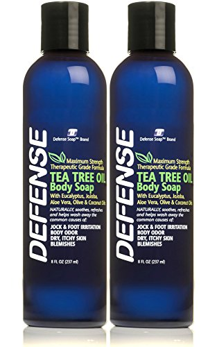 Defense Soap Body Wash Shower Gel 8 Oz (Pack of 2) - 100% Natural Tea Tree Oil and Eucalyptus...