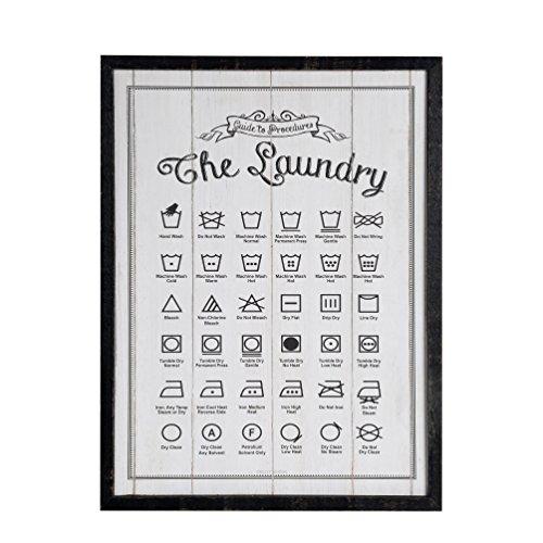 NIKKY HOME Marco de Madera Colgante de Pared Placa de lavandería guía/Signo de lavandería