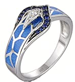 SaySure - Silver Snake Ring Blue Created Sapphire -