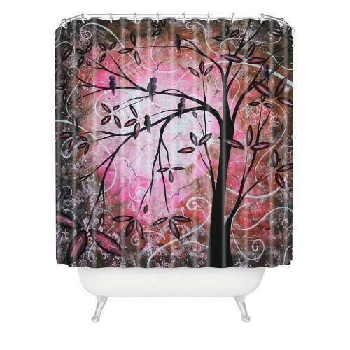 Pink artistic tree shower curtain