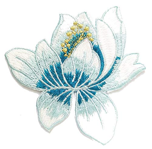 PP Patch Beautiful Embroidered Snow Blue Lotus Flower Buddhism Guanyin Hindu Yoga Peace Iron on Patch Sew on Applique Badge Bag Fabric DIY