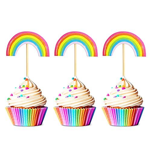 Unimall Global 24 Stück Regenbogen Form Cupcake Topper Picks Regenbogen Form Kuchen Dekor für Geburtstag Hochzeit Kuchen Dekoration für Mädchen Kinder Geburtstag Baby Shower Party Backen Dekoration