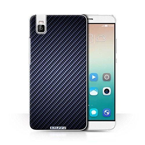 Stuff4® Hülle/Case für Huawei Honor 7i/ShotX/Blau Muster/Kohlenstoff-Faser-Muster Kollektion