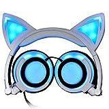 HBOY Auriculares Luminosos Montados En La Cabeza con Orejas De Gato para Niños Auriculares con Orejeras Plegables De Carga USB con Linterna LED,Blanco