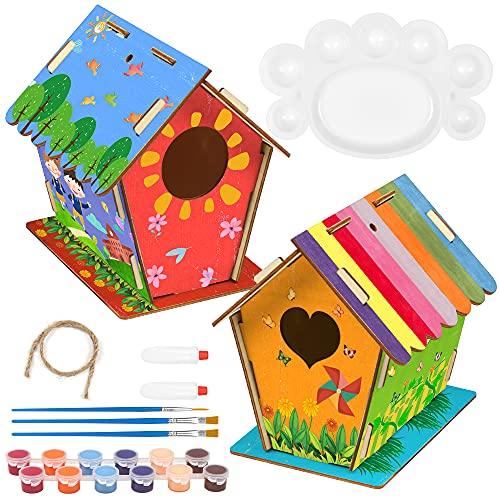 O-Kinee 2 Pezzi Casetta Uccelli Costruire Fai da Te Kit per Bambini, Grande Casetta Uccelli in Legno Pittura Kit Materiale Kit per Lavoretti Creativi Costruire Casetta Uccelli Giocattoli per Bambini