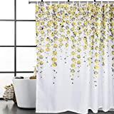 Sunm Boutique Yellow Flowers Bathroom Shower Curtain Set Hooks Included Waterproof Durable Polyester Fabric Shower Curtains Bathroom Accessories