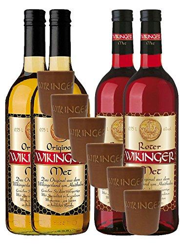 Vierfacher Wikinger 4 x Met (2 x rot & 2 x normal) & 6 Met Ton Becher