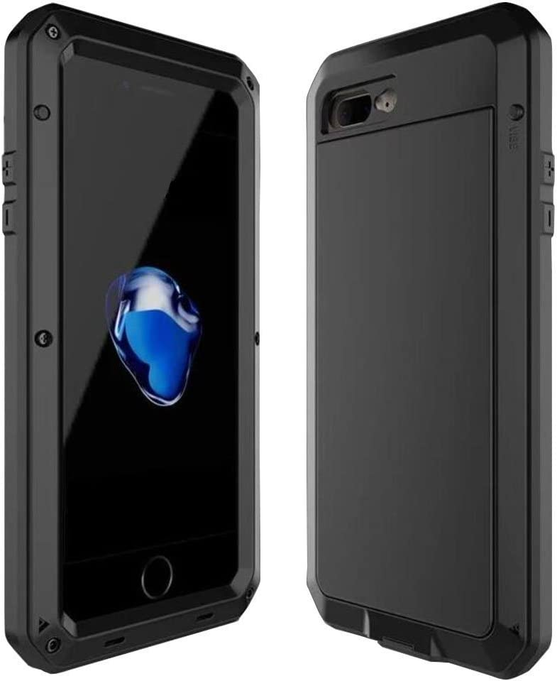 iPhone SE 2020 Case,Tempered Glass Luxury Aluminum Alloy Protective Metal Extreme Shockproof Military Bumper Heavy Duty Cover Shell Case Skin Protector for Apple iPhone SE 2020/8/7 4.7inch (Black)
