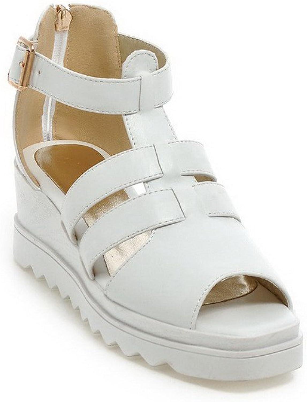 WeenFashion Women's Pu Solid Zipper Open Toe Kitten Heels Platforms & Wedges