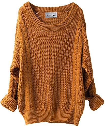 Liny Xin Damen Kaschmir Merinowolle Herbst Winter Rundhals Lose Strickpulli Langarm Sweater Sexy Oversize Pullover (Ginger)