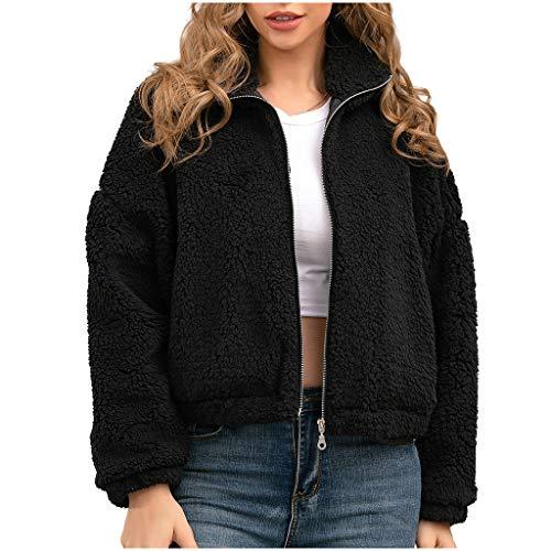 Higlles Damen Warm Faux-Pelz Mantel Jacke Winter Turn Down Kragen Oberbekleidung Black Dicker