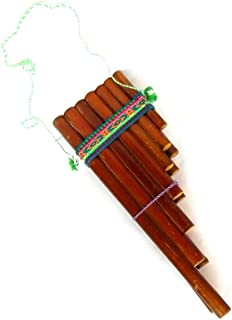 Handmade Peruvian Natural Wooden Bamboo Pan Flute Pipe with Multicolored Tribal Print Woven Cotton Strap Woodwind Musical Instrument (Large)