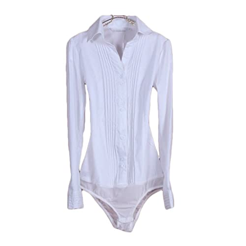 eb82aae2 TRURENDI Women's Long Sleeve V-Neck Pleated Bodysuit Blouse Top Classic  Shirt