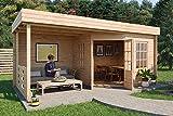 Carlsson Hanna-40 – Caseta de jardín de madera con tejado plano – Caseta para el jardín – Cabaña de jardín de madera maciza con terraza y 2 ventanas – sin impregnación