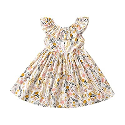 Toddler Baby Girl Sun Dress Wildflower Floral Seaside Beach Dress Overall Outfits Onepiece(Yellow,100/3-4T)