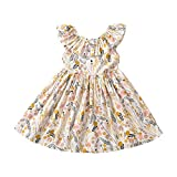 Toddler Baby Girl Sun Dress Wildflower Floral Seaside Beach Dress Overall Outfits Onepiece(Yellow,90/2-3T)