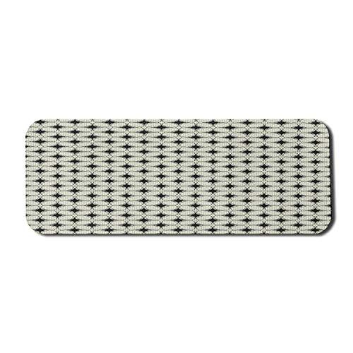 Alfombrilla de ratón abstracta para ordenador, gráfico inspirado en la geometría con diminutos azulejos hexagonales y estrella poligonal, alfombrilla rectangular de goma antideslizante grande gris car